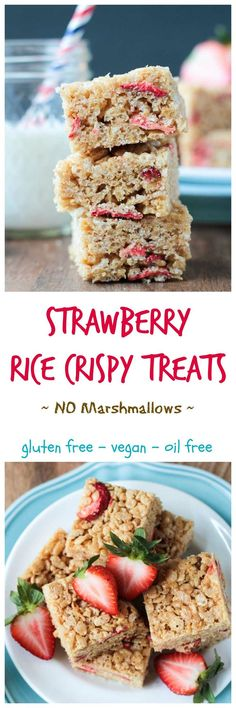 Brown Rice Crispy Treats w Strawberries - just like those you remember from your childhood, but healthier. No marshmallows needed!! Extra sweetness and flavor from the added strawberries make these a festive treat you'll make year round.