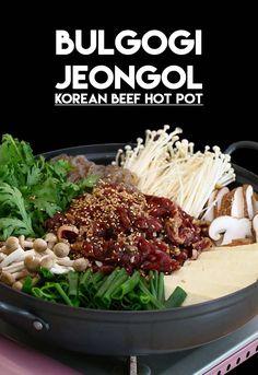 Korean Beef Hot Pot, Bulgogi Jeongol Recipe & Video - Seonkyoung Longest Bulgogi Sauce, Bulgogi Recipe, Korean Beef, Korean Food, Chinese Food, Asian Recipes, Healthy Recipes, Hot Pot Recipes, Healthy Food