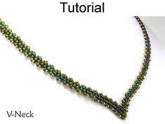 Peyote Necklace Tutorial Pattern Beaded V por SimpleBeadPatterns