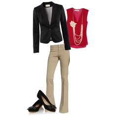 black blazer with tan pants work outfit