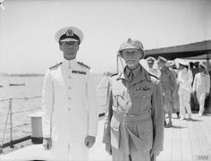 Field Marshal Smuts with Rear Admiral Sir Philip Vian on board Rear Admiral Vian's flagship HMS Cleopatra. 1942