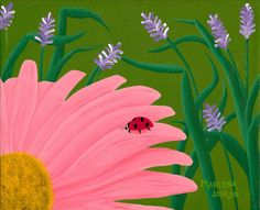 Lady Bug on Pink Daisy 8x10 Acrylic Painting by AcrylicsAndBeyond, $35.00