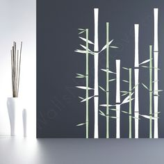 Celebrate one of Earth's most readily renewable natural resources with our Bamboo Wall Art Decal. Choose from any of our 40 vinyl colors and let me know if you see a Panda. This Bamboo Wall Decal is completelty harmless to your wall and is guaranteed to remove cleanly.