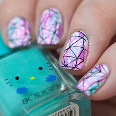 Distressed manicure background with BMXL134 nail stamp by #PaulinasPassions. #geometric #manicure #bundlemonster #BMXL134 #timemachine #triangle #nailstamping #nailplate #distressedmanicure