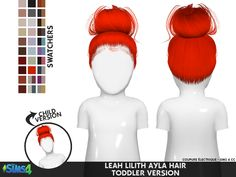 Sims 4 Hairs ~ Coupure Electrique: Leahlillith`s Ayla hair retextured Kinder knot The Sims 4 Pc, Sims Four, Sims Cc, Sims 4 Toddler Clothes, Sims 4 Cc Kids Clothing, Toddler Outfits, Toddler Girls, Girl Outfits, The Sims 4 Bebes