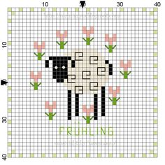 (....cr...about 24x25 without the lettering....I don't know what it says anyway, but the little lamb is adorable....you will have to make you own colors)
