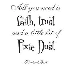 Tinker bell Quote 22x17 All you need is faith trust and a little bit of Pixie dust dust wall saying vinyl decal