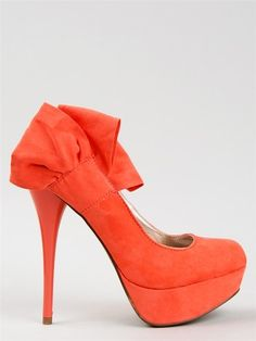 NEW QUPID Women Bow High Heel Heel Platform Pump Shoe orange sz Coral neutral212 | eBay