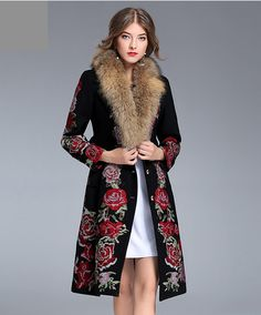 Winter Warm Coats European Full Sleeve Fashion 2017 Rose Embroidery High-end Hairy Single Breasted Classic Women Fur Retro Coat Bespoke Suit, Bespoke Tailoring, Made To Measure Suits, Fur Collar Jacket, Coats For Women, Clothes For Women, Corporate Attire, Rose Embroidery, Warm Coat