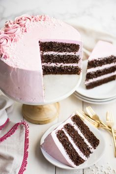 Chocolate Cake with Raspberry Buttercream - Baking A Moment