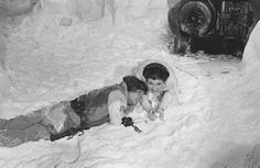 Mark Hamill and Carrie Fisher playing with the Echo Base set 'snow'. Star Wars Empire Strikes Back: Behind The Scenes.