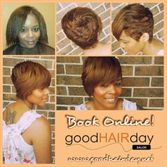Short cut  Bangs!  Relaxed Styles, Natural Styles, Keratin Treatments, Custom Color, Precision Cuts, Book online!  www.goodhairday.net