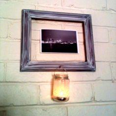 Picture on hollow frame with tea light jar Jar Lights, Tea, Frame, Pictures, Home Decor, High Tea, Homemade Home Decor, Decoration Home, Photo Illustration
