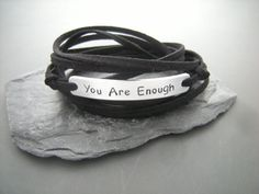 You are enough, Motivational wrap bracelet, Stamped bracelet personalized, faux suede cord, personalized quote for you by PawlowskiCreations on Etsy Simple Bracelets, Wish Bracelets, Cord Bracelets, Bracelets For Men, Friend Bracelets, Friendship Bracelets, Personalized Bracelets, Personalized Gifts, Gifts For Friends