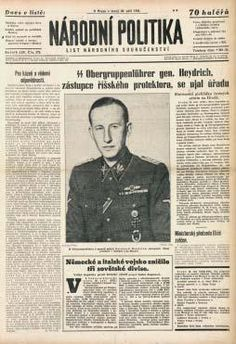 Czech nwspapers announce death of Heydrich