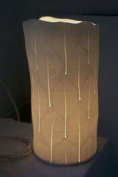 cotinus leaf ceramic lamp | Chrissy Silver