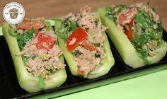 Gurken Happen mit Thunfisch - leckere und gesunde Idee für das Abendessen  (In der Stoffwechselkur Olivenöl und Fett weglassen.)