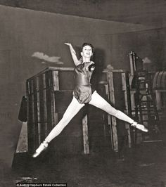 Audrey Hepburn ballet jump in the air