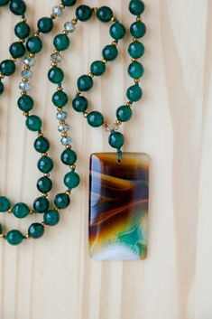 Long Brown & Green Agate Pendant Beaded Necklace with Green Agate & Crystal Beads Beaded Jewelry, Beaded Necklace, Necklaces, Jewellery, Crystal Beads, Crystals, Pearl Pendant Necklace, Green Agate, Coral Turquoise