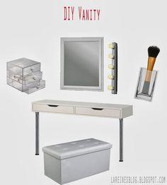 Schminktis selbermachen - aus Ikea Ekby Alex Regal - diy vanity