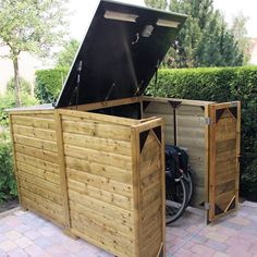 Lift top motorcycle shed Outdoor Bicycle Storage, Bicycle Storage Shed, Shed Storage, Storage Ideas, Small Shed Plans, Small Sheds, Bin Shed, Bike Shelter, Range Velo