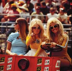 We'd like to introduce you to Nikki Phillips, June Cochran (Playmate of the Year, 1963), and, of course, Linda Vaughn on the far right. This was shot by either Pat Brollier or Gerry Stiles at the NHRA Nationals in Indianapolis in September 1971
