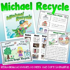 """Students design an Earth Day poster and learn about reducing, reusing, and recycling with """"Michael Recycle."""""""