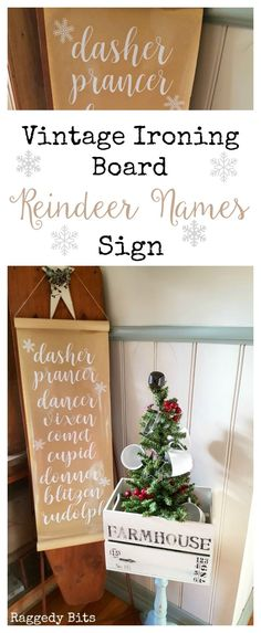 Turn an old Ironing Board into a Vintage Ironing Board Reindeer Names Sign | Full Tutorial | www.raggedy-bits.com