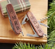 Like most gift ideas for outdoorsy men and groomsmen, a Swiss Army knife is very practical. From using it on their next camping trip to being the designated box opener on Christmas morning, these tools will come in handy. | Personalized Wood Swiss Army Knife