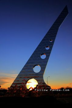Centre 2000 Millennium Sundial during Autumn Sunset - Grande Prairie, Alberta, Canada | FollowPanda.Com
