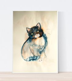 Animal Art – Cat painting ORIGINAL Watercolor painting – a unique product by…