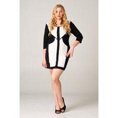 http://www.salediem.com/shop-by-size/xl-2xl-3xl/plus-mid-dress.html  Sale Diem  #salediem #blackandwhite #fashion