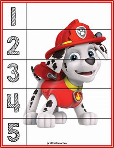 Paw patrol puzzle Counting Puzzles, Number Puzzles, Counting Activities, Free Printable Puzzles, Free Paw Patrol Printables, Free Printable Numbers, Toddler Activities, Puzzles For Toddlers, Number Activities For Preschoolers