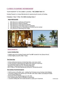 #CAMBAY PASSPORT #MEMBERSHIP #OFFERS.  YOUR PASSPORT TO THE CAMBAY LUXURIES, THE CAMBAY WAY !!!!!  Cambay Passport is a Unique Membership for experiencing the luxuries at Cambay.  I Duration: 1 Year I Price: Rs 12000 including Taxes I You also get Bonus Benefits ( Luxury Cambay Stay + The Orient Spa + The Cambay Food Extravaganza )