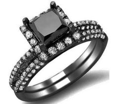 2.45ct Black Princess Cut Diamond Engagement Ring Wedding Set 14k Black Gold
