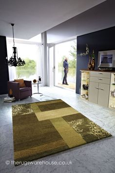 Tingri Green Rug, a hand-knotted Nepalese-woven carpet made from pure new wool & real silk impressions http://www.therugswarehouse.co.uk/patchwork-rugs/tingri-green-rug.html #rugs #wool #interiors