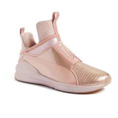 Women's Puma 'Fierce Metallic' High Top Sneaker ($100) ❤ liked on Polyvore featuring shoes, sneakers, rose gold, metallic shoes, metallic sneakers, high top sneakers, hi tops and breathable shoes