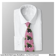 #lawn #bowls  And Logo, Dusty Rose Unisex Silky #necktie