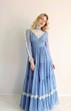 Blue vintage Gunne Sax Maxi Dress.  Boho prairie style.  1970s fashion.  Would make a beautiful bridesmaid dress!  (ad)