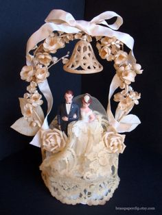 Gorgeous Refurbished Vintage Wedding Cake Topper by BrassPaperclip