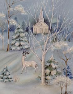 Deer by the Church-Vintage Christmas Card-Greeting