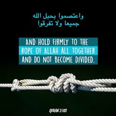 And hold fast, all of you together, to the Rope of Allah (i.e. this Quran), and be not divided among yourselves, and remember Allah's Favour on you, for you were enemies one to another but He joined your hearts together, so that, by His Grace, you became brethren (in Islamic Faith), and you were on the brink of a pit of Fire, and He saved you from it. Thus Allah makes His Ayat (proofs, evidences, verses, lessons, signs, revelations, etc.,) clear to you, that you may be guided.