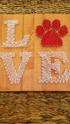 SALE! Ready to Ship Animal Love String Art Sign, Wood and Nail Puppy Love Paw Print Wall Hanging/Shelf Sitting Sign, Unique Gift