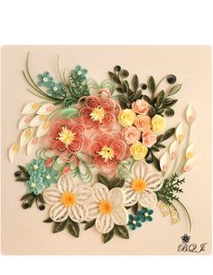 Flowers, quilling, pink