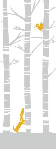 Berkenbos Mural (100x270 cm) 2-baans vliesbehang met berkenbos in grijs met hondje en eekhoorn in oker geel. (200x270cm) Elke baan is 50 cm breed en 270 hoog, en dus kan je met twee banen een kamerhoge wand beplakken van 1 meter breed. Als je te beplakken muur breder is dan 1 meter, dien je een veelvoud van de 2 banen te bestellen. Alleen een kwestie van muur insmeren, plakken en langs de plint afsnijden als het er eenmaal op zit. Dit vliesbehang is sterk, krimpvrij, maakelijk te verwijderen…