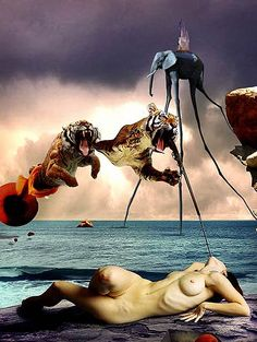 Paula Stirland's stock photo recreations of Dali paintings — Lost At E Minor: For creative people