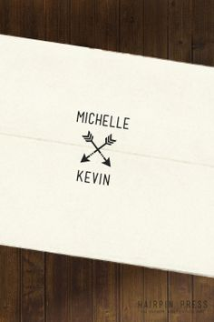 Designs for Michelle - Arrow Wedding Stamp. , via Etsy.