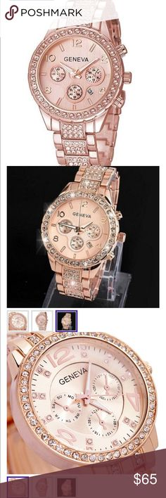 Lovely stainless steel rose gold Geneva watch new Crystal rose gold stainless steel quartz watch. New. Great gift🎁 exactly as pictured Geneva Accessories Watches
