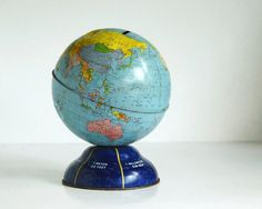 vintage globe bank ohio art 1960's toy world globe collectibles:::