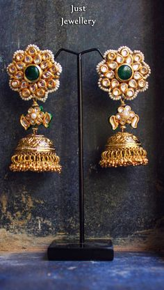 Pretty in gold !! Jhumkas.. Price - 5800/- Place your order by sending us an email to justjewellery08@gmail.com